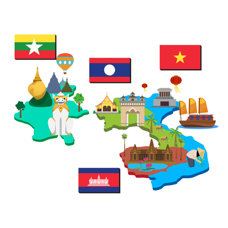 Map and flag of laos, cambodia, myanmar and vietnam. Imagens - 57146120