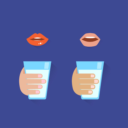 man drinking water: icon of man and lady drinking water.