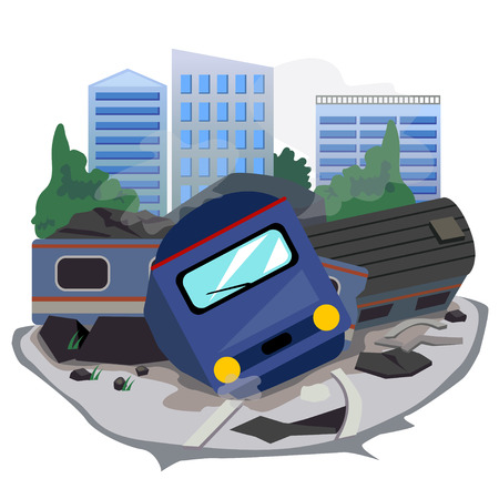 train accident and background building.