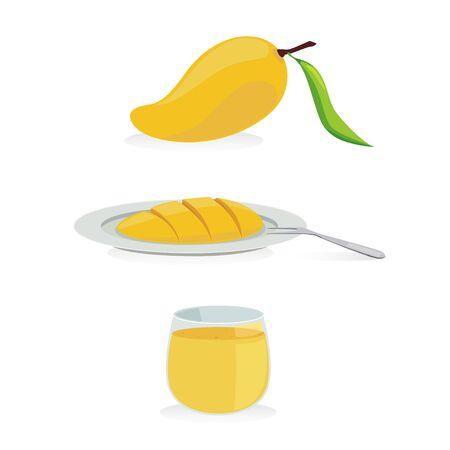 mango juice: fresh mango and mango juice. Illustration