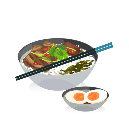 boiled: A bowl of braised pork belly in dark soy sauce with rice and boiled egg. Illustration