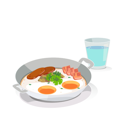 Breakfast: Eggs pan and a glass of water. Ilustração
