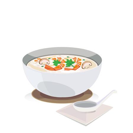 mushroom soup: shrimp porridge with mushroom and a spoon.