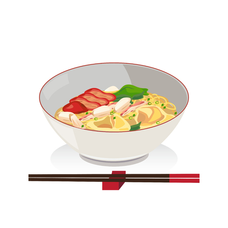 barbecued: Noodle and wanton with crab and barbecued red pork in a bowl with chopsticks.