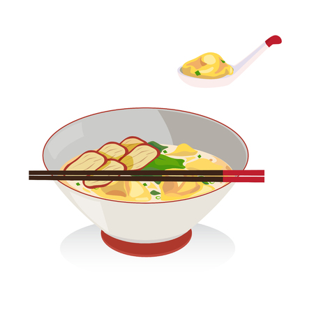 barbecued: Wanton soup with barbecued red pork in a bowl with chopsticks.