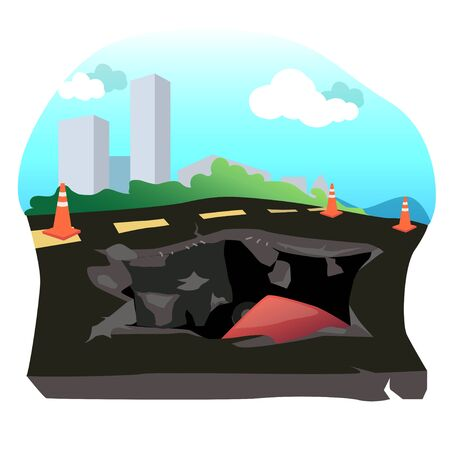 Illustration of the road collapsed a car fell into the hole.