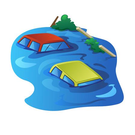 to drown: Flood y se ahogan coche en la calle el agua se ven como canal. Vectores