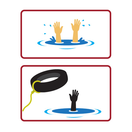 drowning: Hand of a drowning man sticking out of water. Illustration
