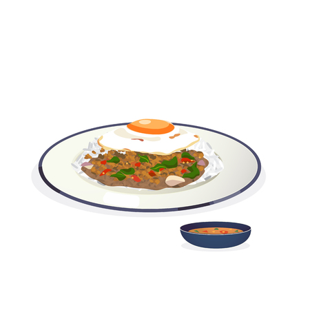 fried egg: rice topped with stir-fried pork and basil with fried egg.