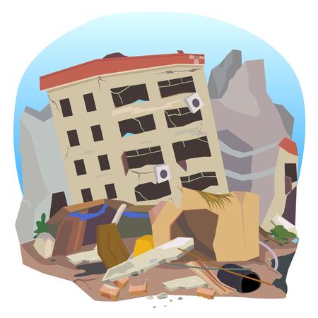De aardbeving vernietigde de stad herbergt.
