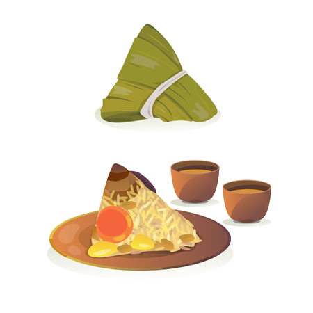 rice plate: chinese food : sticky rice with stewed pork, mushroom, peanut ect. wrapped in bamboo leaves. Illustration