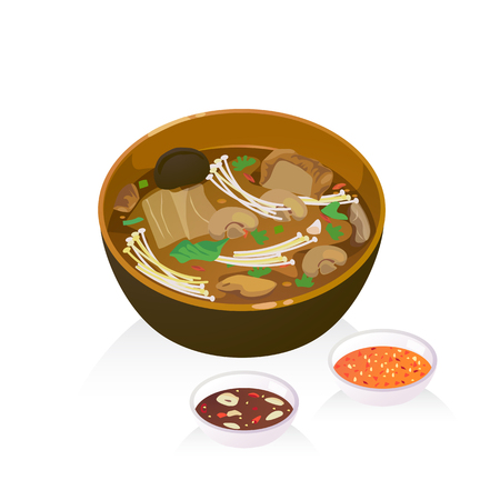 A bowl of bak kut teh : hot soup with herb ,pork, mushroom, vetgetable.