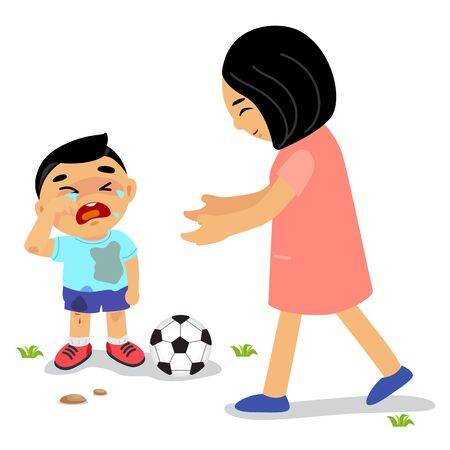 mather: Mother and child : Son crying mather walk to him. Illustration