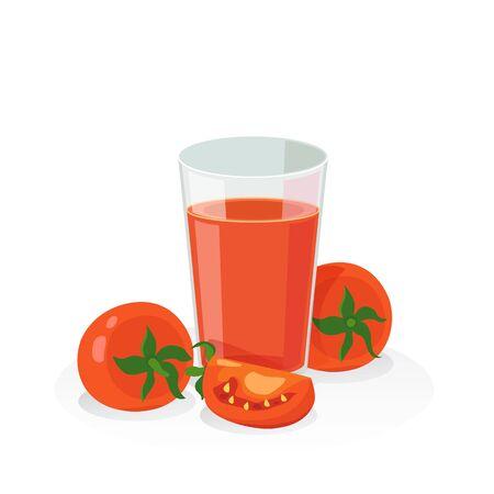 tomato juice: A glass of tomato juice and fresh tomato on white background. Illustration
