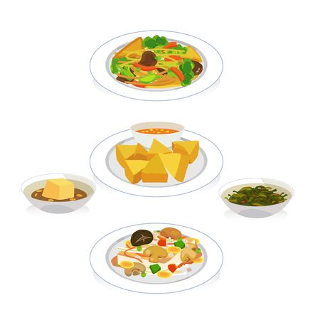 fried noodles: Vector set of vegetarian food on white background. Illustration