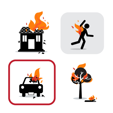 Icon set of fire burning , house, tree, car, man.