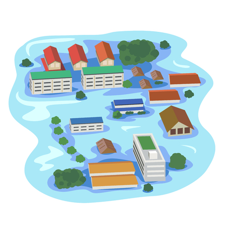 Vector of building and house, tree drowning.