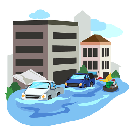 Vector of flooded city car and people evacuate. Illustration
