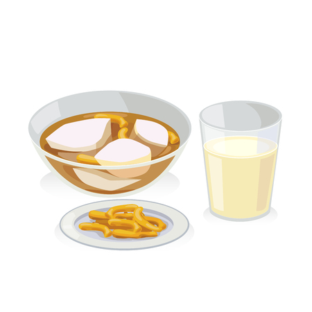 Soft bean curd on hot ginger syrup and crispy deep friend stick and soy milk. Banco de Imagens - 67382523