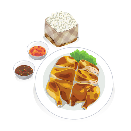 dipping: A dish of roast chicken with sticky rice and dipping sauce. Illustration