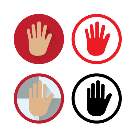 safty: Flat icon of human hand : stop or pause.