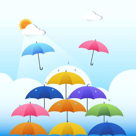 Vector of rain, cloud, sun and unbrella.