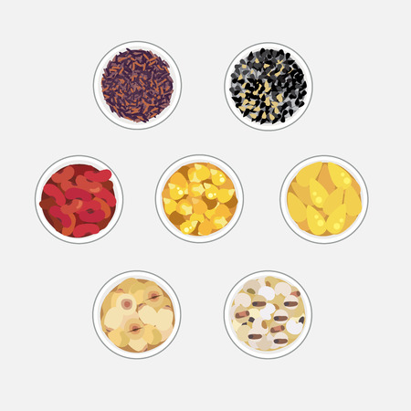 Vector of grains in bowl : lotus beans, red bean, rice, ginkgo nut, jobs tears.