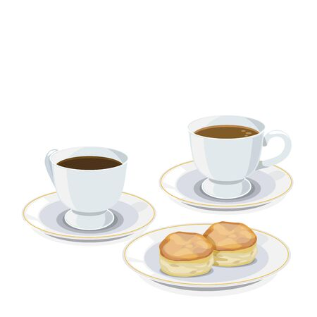 scone: Set of coffee break: cup of coffee and scone.