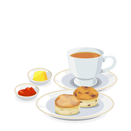 scone: Set of tea break: a cup of tea and scone with jam and butter.