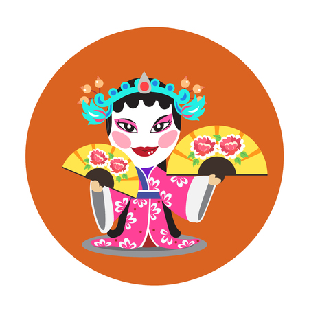 The actress holding paper fan in chinese opera.