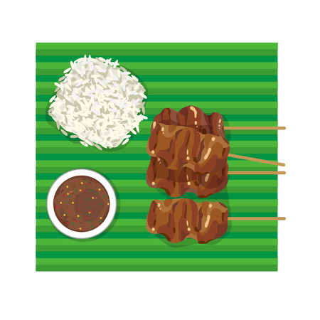 banana leaf: street food : thai styled pork barbecue with sticky rice and dripping sauce on banana leaf.