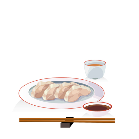 Traditional dish, steam chinese dumpling with dipping sauce and hot tea.