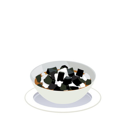 Vector of a bowl of grass jelly in syrup with ice.
