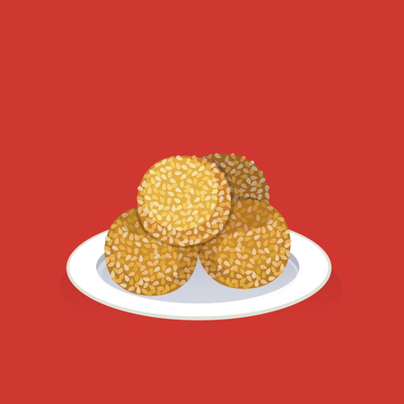 Traditional dish is thought to be lucky, sesame seed ball.