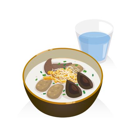 A bowl of porridge with pork , liver, preserved egg and deep fried doughstick. Stock Vector - 75617126