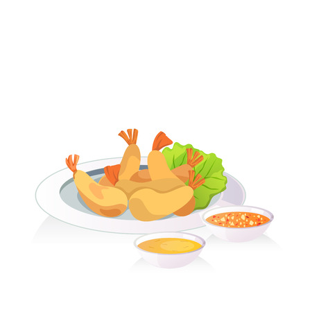 A dish of fried shrimp and dripping sauce(spicy and plum sauce). Illustration