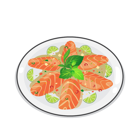 Thai style food, a dish of spicy salmon. Illustration