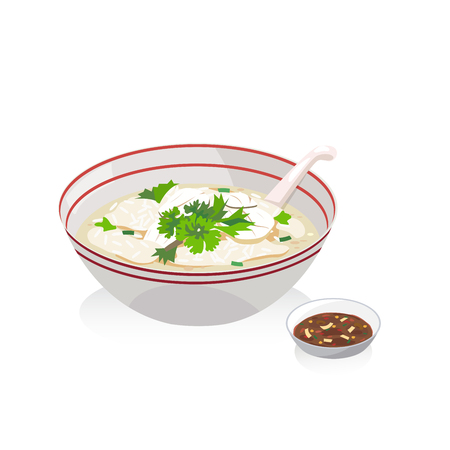 A Vector of fish porridge with soybean paste and a spoon. Illustration