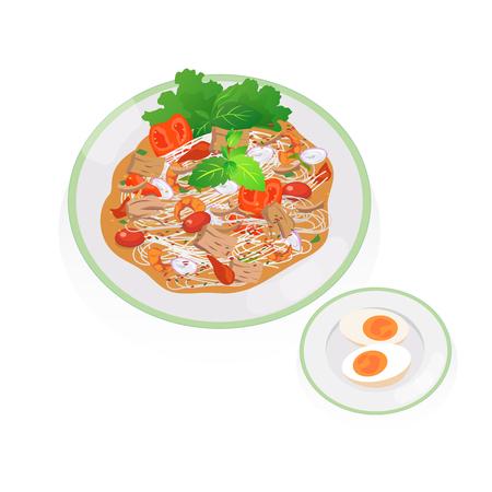 Thai food tuna spicy salad with boiled egg.