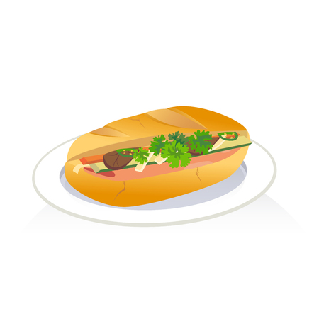 A sandwich made from a baguette filled with meat, sliced chilies, carrot and pickles. Illustration