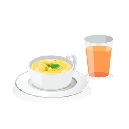 Corn soup in a bowl and a glass of oran juice. Illustration