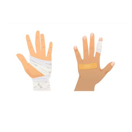 Injured vector front and back hands on white background. Illustration