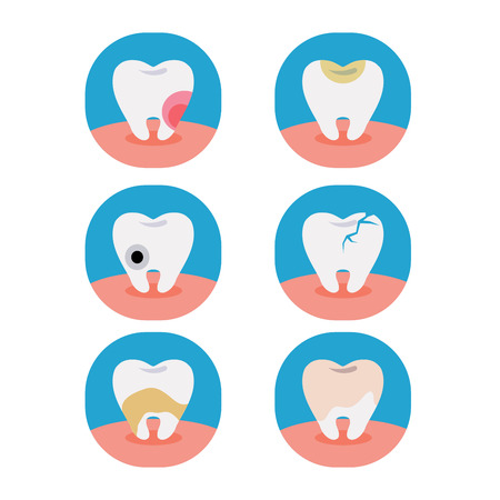 Vector of six problem of tooth on white background. Illustration