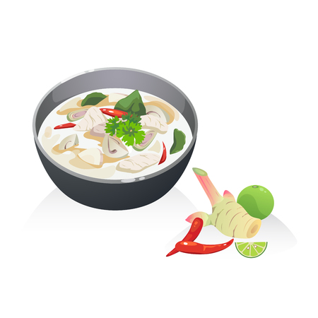 Tom Kha Kai soup, Thai soup with coconut milk chicken breast  mushroom.