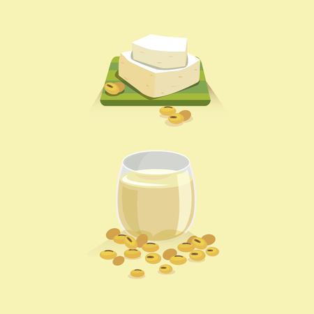 豆乳と豆腐の醤油豆アイコン。  イラスト・ベクター素材