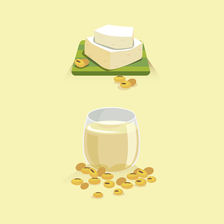 Soy milk and tofu with soy beans icon.