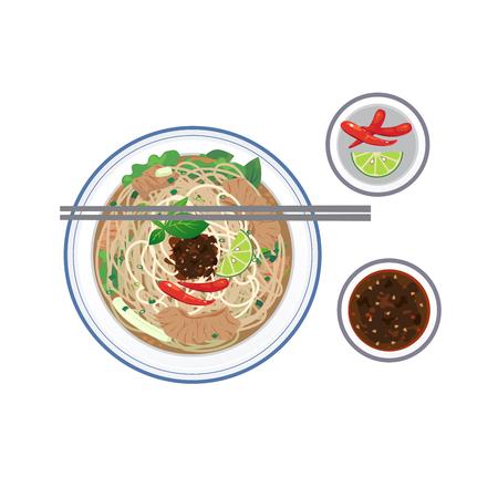 Il cibo Vietnames, zuppa di riso alla tagliata con manzo affettato 'Pho'.