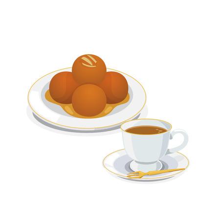 Gulab jamun is a favorite indian desserts and hot milk tea. Illustration