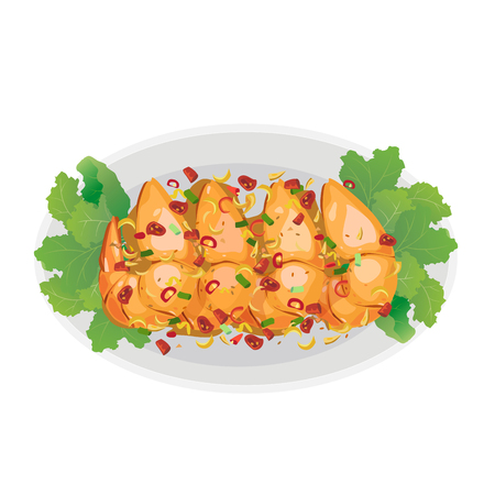 fried shrimp: A dish of roasted shrimp with salt and garlic