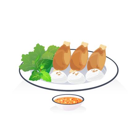 Fried shrimp with sugar cane and rice noodle. Illustration